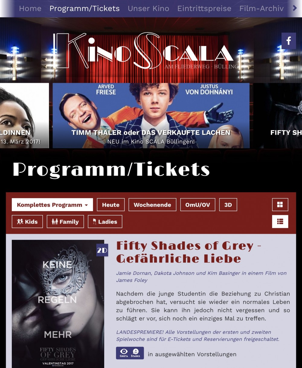 Kino Scala in Büllingen/Belgien mit website.plus 2.0 online